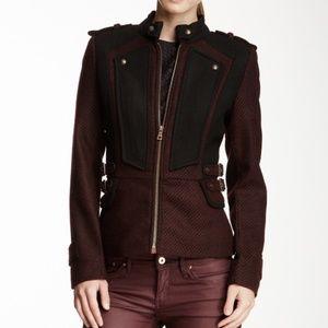 Sam Edelman Two Tone Military Wool Jacket Coat Zip